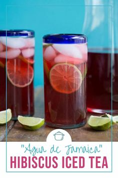 There are just 3 ingredients in this super refreshing Hibiscus Iced Tea, also known as Agua de Jamaica! #mocktail #beverage #icedtea #hibiscustea