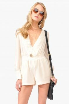 Long white sleeve romper with deep v-neck