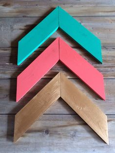 Wood Arrows - Set Of 3 - Mix And Match Coral Arrows, Mint Arrows, Gold Arrows Pink Bedroom Decor, Gold Bedroom, Bedroom Ideas, White Bedroom, My New Room, My Room, Wood Arrow, Recycling, Big Girl Rooms