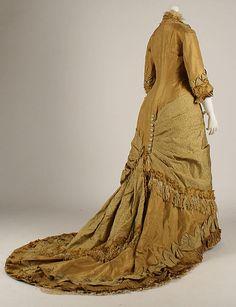 Dress - Dress Date: 1876–77 Culture: American Medium: silk Dimensions: Length at CB: 81 in. (205.7 cm) Credit Line: Catharine Breyer Van Bomel Foundation Fund, 1981