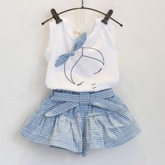 Top Offers $5.12, Buy Summer 2pcs Baby Girls Suits Cute Clothes Sets White T Shirt and Plaid Blue Pants for 2-6 Years LH6s