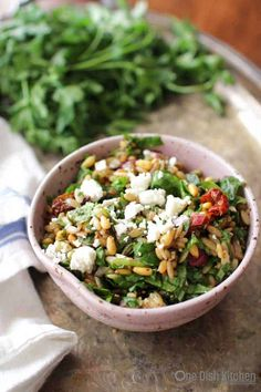 Spinach and Orzo Salad For One
