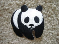 Panda Black & White Animal Iron On patch, Applique, Sewing patch. $5.99, via Etsy.