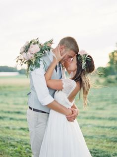Photography : Jeremiah And Rachel Photography | Wedding Dress : Grace Loves Lace | Grooms Suit : Express Men Read More on SMP: http://www.stylemepretty.com/2015/04/15/rustic-sweet-pennsylvania-wedding/