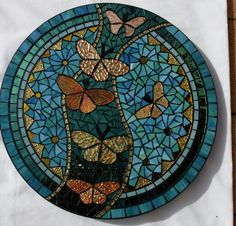 Golden butterflies lazy susan by Glenys Fentiman Via Mosaic Tile Mania Golden… Mosaic Tray, Mosaic Tile Art, Mosaic Artwork, Mosaic Crafts, Mosaic Projects, Mosaic Table Tops, Mosaic Rocks, Mosaic Stepping Stones, Stone Mosaic