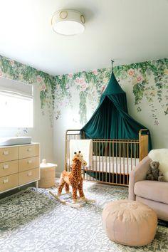 Feminine Modern Nursery with Tempaper Designs - Anne Sage Budget Nursery, Baby Nursery Decor, Nursery Design, Nursery Room, Girl Nursery, Baby Room, Sophisticated Nursery, Pregnant With A Girl, Removable Wall Murals