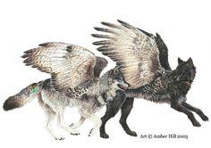 Fantaisie à ailes Wolf esprit Totem Hawk Animal ORIGINAL crayon de couleur peinture