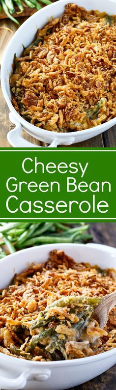 A Cheesy Green Bean Casserole made with fresh green beans, mushrooms, and a thick layer of french-fried onions will be the hit of your holiday meal.