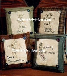 Homespun Herb Stitchery Pillows - Instant Download E-Pattern by PalettePrimitives on Etsy https://www.etsy.com/listing/227308162/homespun-herb-stitchery-pillows-instant