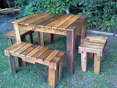 Pallets Benches and Table Set for Farm – Pallets Ideas, Designs, DIY.