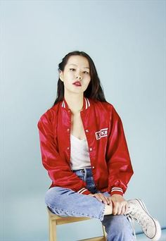 90'S VINTAGE RED AND WHITE VARSITY JACKET