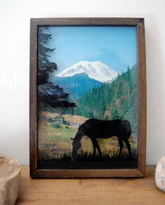 Vintage Horse and Mountain Shadowbox Art by Houseworking on Etsy, $21.00