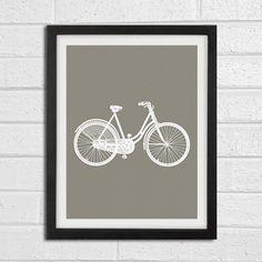 Classic Old Bicycle Bike Vintage Wall Art Print - White and Grey - Home Decor Art Print 8x10.