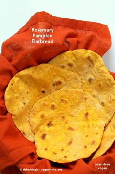 Rosemary Pumpkin Flatbread. Yeast-free Pumpkin flat bread with herbs. Use as side or to make wraps. Vegan Soy-free Recipe