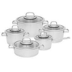 Hrnce sada Manhatan 10-dílná Cast Iron Cookware, Cookware Set, Manhattan, Steel Rims, Double Boiler, Hygiene, Herd, Stainless Steel, Glass
