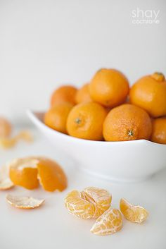 Food Styling Practice. Clementines. White dishes. Gray background.
