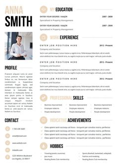 Resume Template  Page  Word Diy Printable Cv With Cover Letter