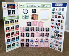 A Few of My Favorite Things- awesome ideas for general conference, reading scriptures with your kids, and other LDS stuff Sunday Activities, Church Activities, Activity Days, Activity Board, Conference Board, General Conference, Conference Poster, Family Proclamation, Kids Church