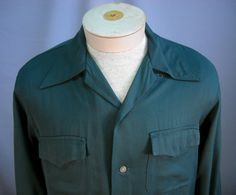 Vintage 1950's Forest Green Rayon Gab Shirt M by Rustology on Etsy, 62.00