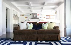 Velvet Sofa + Flor Tile Rug + Coffer Ceiling | Brooke Jones Designs