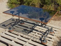 Industrial Black Iron Pipe and Glass Coffee Table by Splinterwerx