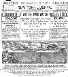 Headline From the Spanish American War Period-- USS Maine yellow journalism