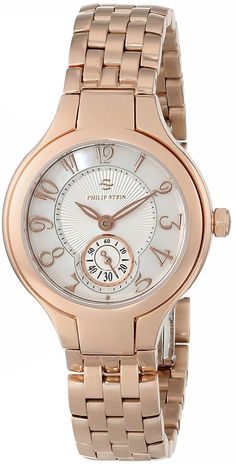 Philip Stein Women's 44RGP-FMOP-SS5RGP 'Round Collection' Rose Gold-Plated Watch >>> Read more reviews of the watch by visiting the link on the image.