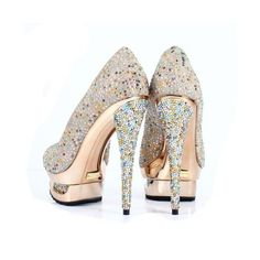 Bqueen Crystal Shoes Banquet Shoes Golden D049J ($149) ❤ liked on Polyvore