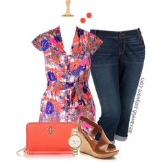 Plus Size Fashion - Simple Summer Outfit by alexawebb on Polyvore featuring Old Navy, Diane Von Furstenberg, Tory Burch and Kate Spade