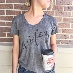 This Sunday calls for a 'Wifey Tee' and caffeine treat. Who is with us that these are necessities.. {Shop this Tee in Bio} ✔️ ( @karadpete) #wifey