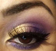 Gold And Purple Eyeshadow... like the top, too much on bottom