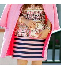 Zara jacket, loft bag, J.Crew Pencil Wrap Skirt ($100) --- but where is the TOP from? I love this mix of print w/stripe and a grounding of Pink as the 'neutral'