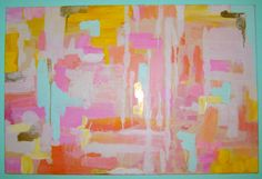 For above the piano Mint+Gold+Peach+Abstract+Painting+by+PaintedPeonies+on+Etsy,+$70.00