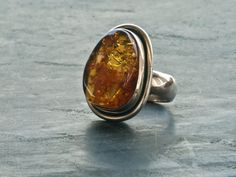 Baltic Amber Ring Big Statement Ring Unique Honey by SunSanJewelry