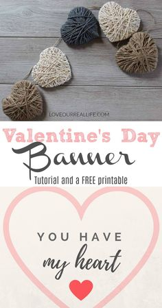 Valentine's Day String Heart Banner ⋆ Love Our Real Life - Looking for some Valentine decor that isn't pink or red? Make these simple and inexpensive string - Valentines Day Decor Rustic, Valentines Day Decorations, Valentine Day Crafts, Love Valentines, Holiday Crafts, Diy Valentine's Banner, Saint Valentin Diy, Valentines Bricolage, Valentine Banner