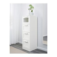 BRIMNES 4-drawer chest, white, frosted glass white/frosted glass 15 3/8x48 7/8