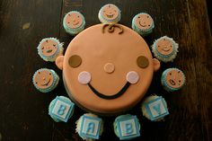 baby shower cake and matching cupcakes | Flickr - Photo Sharing!