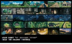 Totoro Color Script Animation Storyboard, Color Script, Mood Colors, Animation Background, Color Studies, Visual Development, Totoro, Color Inspiration, Art Reference