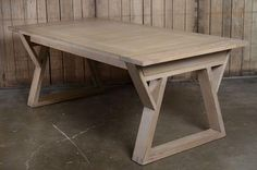 Rectangular Modern French Oak Dining Table with Two 17