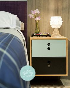 two colored bedside table - holes instead of hardware