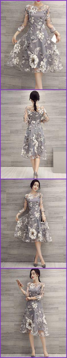 Ericdress Flower Print Three-Quarter Sleeve Expansion Casual Dress