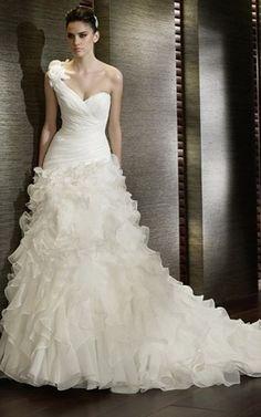 Organza bezauberndes luxus romantisches Brautkleid mit Kapelle Schleppe