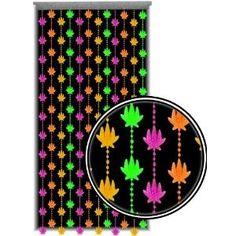 Marijuana Pot Leaf Blacklight Reactive Beaded Curtain |