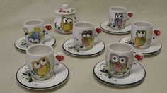 Owl mugs 2 Dot Art Painting, China Painting, Pottery Painting, Ceramic Painting, Sharpie Crafts, Owl Crafts, Paint Garden Pots, Owl Kitchen, Owl Mug