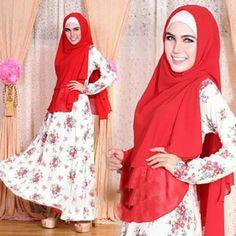 Gamis Syar'i Premium Motif 09 MERAH - http://warongmuslim.com/gamis-syari/gamis-syari-premium-motif-09-merah/