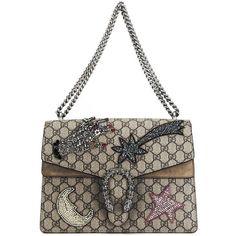 Medium Dionysus Embroidered Shoulder Bag (18317705 PYG) ❤ liked on Polyvore featuring bags, handbags, shoulder bags, embroidered handbags, shoulder bag purse, shoulder hand bags, white shoulder bag and shoulder handbags