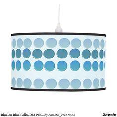 Blue on Blue Polka Dot Pendant Light Pendant Lamp Light Pendant, Pendant Lamp, Pendant Lighting, Kids Lighting, Lighting Design, Nursery Room, Nursery Decor, Blue Polka Dots, Kids Rooms