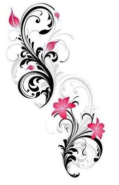 vector ranke flora bl ten schmetterlinge schwarz pink tattoo pinterest bl ten. Black Bedroom Furniture Sets. Home Design Ideas