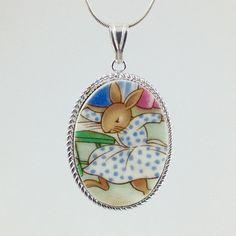 Broken China Jewelry Bunnykins Necklace Bunny by DinnerWearJewelry