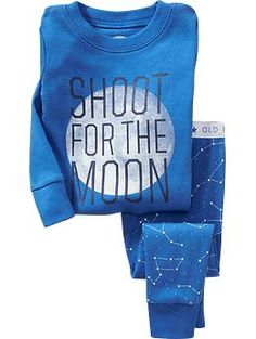 """Shoot for the Moon"" Sleep Sets for Baby $12 (sale), size 6-12 months or 12-18 months, cerulean sureena"